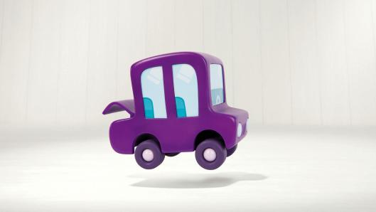 A small purple car, hovering above the ground, in front of a white background.