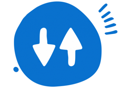 A round, blue circle with two white arrows inside of it. One arrow is pointing down and the other one is pointing up.