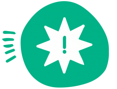 A green circle with a white star inside of it and a green question mark inside the star.
