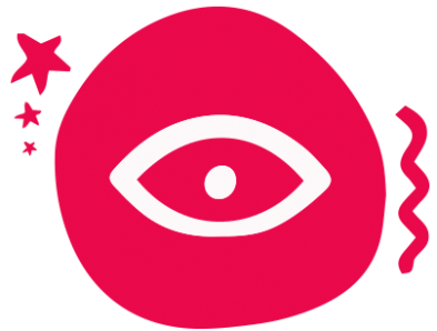A pink circle with a white illustration of an eye.