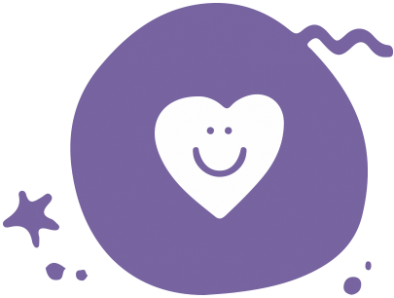 A purple circle with an illustration of a white, happy heart  inside of it.