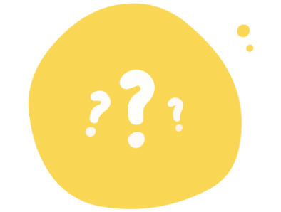 A yellow circle with three white question marks inside of it.